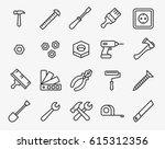 repair tools minimal flat line... | Shutterstock .eps vector #615312356