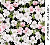 beautiful flowers on seamless... | Shutterstock .eps vector #615312542