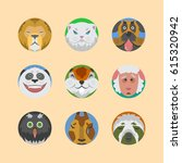 cute animals emotions icons... | Shutterstock .eps vector #615320942
