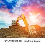 excavator in construction site... | Shutterstock . vector #615321122