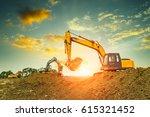 excavator in construction site... | Shutterstock . vector #615321452