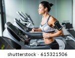 portrait of sportive brunette... | Shutterstock . vector #615321506