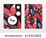 cover design with floral... | Shutterstock .eps vector #615331802