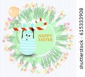 easter cute illustration.... | Shutterstock .eps vector #615333908