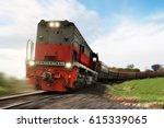 freight train locomotive... | Shutterstock . vector #615339065