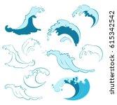 set of ocean waves of different ... | Shutterstock .eps vector #615342542