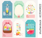 set of happy easter gift tags... | Shutterstock .eps vector #615343022