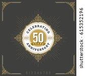 vintage anniversary logo emblem ... | Shutterstock .eps vector #615352196
