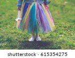 little girl in colorful tutu... | Shutterstock . vector #615354275