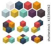 3d cubes. set of colored... | Shutterstock .eps vector #615360062