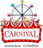 funfair and carnival background  | Shutterstock .eps vector #615369422