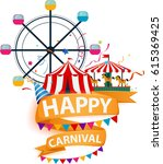 funfair and carnival background  | Shutterstock .eps vector #615369425