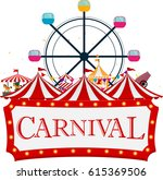 funfair and carnival background  | Shutterstock . vector #615369506