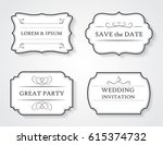 retro wedding labels.vector... | Shutterstock .eps vector #615374732
