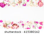 Floral Frame With Pink Roses...