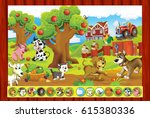 cartoon game page with farm... | Shutterstock . vector #615380336