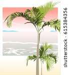 areca palm trees and sunset... | Shutterstock .eps vector #615384356