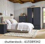 comfortable bedroom with nice... | Shutterstock . vector #615389342
