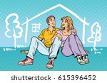 young couple boy and girl... | Shutterstock .eps vector #615396452