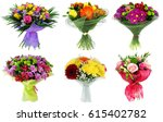 set of bouquet of colorful... | Shutterstock . vector #615402782