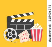 big movie reel open clapper... | Shutterstock . vector #615406376