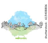 panorama of village in sketch... | Shutterstock .eps vector #615408806