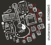guitar accessories line vector... | Shutterstock .eps vector #615408845