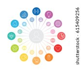circle infographic  social... | Shutterstock .eps vector #615409256