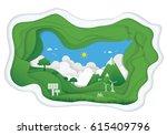 paper art of ecology concept.... | Shutterstock .eps vector #615409796