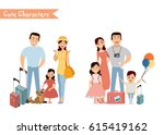 people and family traveling on... | Shutterstock .eps vector #615419162