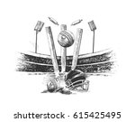 cricket championship with ball... | Shutterstock .eps vector #615425495