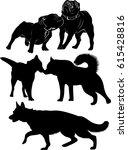 dogs. dogs black silhouette... | Shutterstock .eps vector #615428816