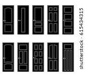 set of black door icons  vector ... | Shutterstock .eps vector #615434315