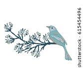 bird on a flowering branch of a ... | Shutterstock .eps vector #615454496