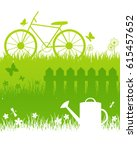 set of grass borders for your... | Shutterstock .eps vector #615457652