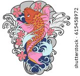 hand drawn koi fish tattoo | Shutterstock .eps vector #615458972