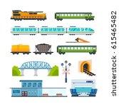 railway locomotive with various ... | Shutterstock .eps vector #615465482