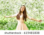 happy young woman  in a... | Shutterstock . vector #615481838