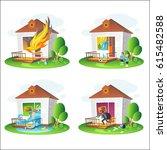 set of illustrations on the... | Shutterstock .eps vector #615482588