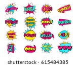 colorful comic speech bubbles... | Shutterstock .eps vector #615484385