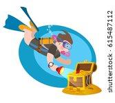 diver under water near a... | Shutterstock .eps vector #615487112