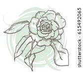 roses illustration  outline... | Shutterstock .eps vector #615492065