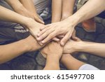 business people join hand... | Shutterstock . vector #615497708