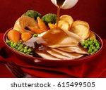 roast chicken dinner | Shutterstock . vector #615499505