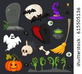 traditional halloween symbols.... | Shutterstock . vector #615505136