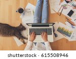 working home concept   girl... | Shutterstock . vector #615508946