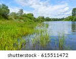 view on river valley with sedge ... | Shutterstock . vector #615511472
