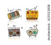 vintage radio set  sketch for... | Shutterstock .eps vector #615511838