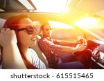 woman and men in car and summer ... | Shutterstock . vector #615515465