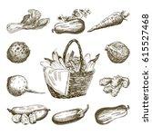 set of vegetables. harvesting | Shutterstock .eps vector #615527468